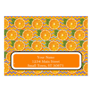 Orange Fruit on Colors Chevrons and Blue Pack Of Chubby Business Cards