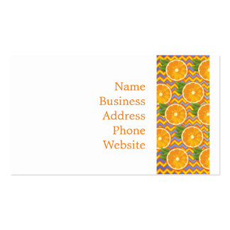 Orange Fruit on Colors Chevrons and Blue Pack Of Standard Business Cards