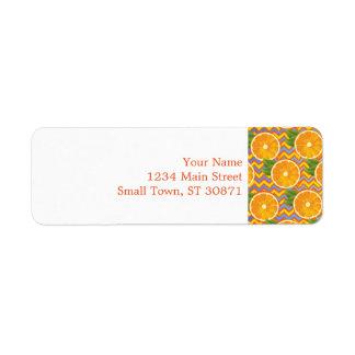 Orange Fruit on Colors Chevrons and Blue Return Address Label