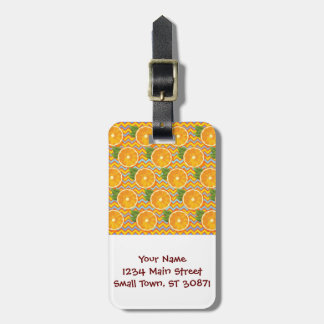 Orange Fruit on Colors Chevrons and Blue Tag For Luggage