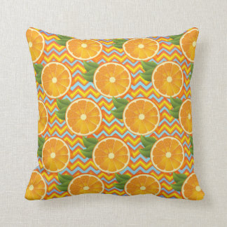 Orange Fruit on Colors Chevrons and Blue Throw Cushions