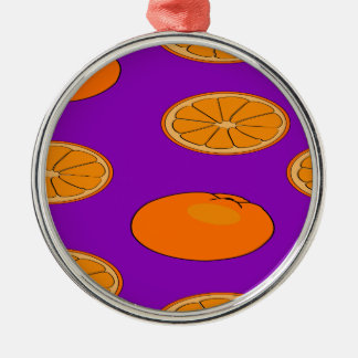 Orange fruit pattern Silver-Colored round decoration