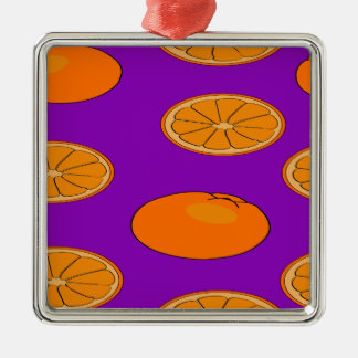 Orange fruit pattern Silver-Colored square decoration