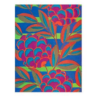 Orange fuchsia floral postcard
