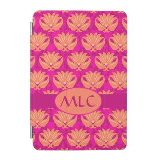Orange Fuchsia Pink Art Nouveau Damask Monogram iPad Mini Cover