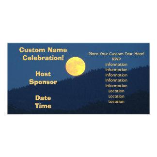 Orange Full Moon Invitaitons Photocards Blue Photo Cards