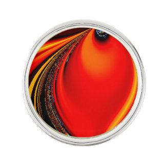 Orange Fury Fractal Lapel Pin