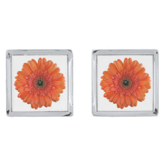 Orange Gerber Gerbera Daisy Flower Wedding Silver Finish Cuff Links