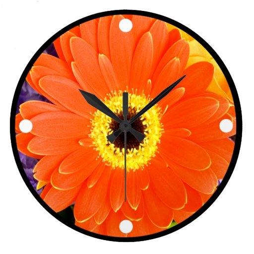 Orange Gerbera Wall Clock