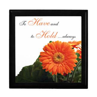 Orange Gerbera Daisy Anniversary Trinket Box