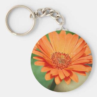 Orange Gerbera Daisy Basic Round Button Key Ring