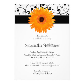 Orange Gerbera Daisy Black Scroll Bridal Shower Personalized Invite