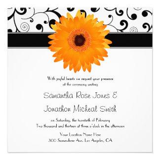 Orange Gerbera Daisy Black Scroll Design Wedding Custom Invitation
