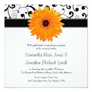 "Orange Gerbera Daisy Black Scroll Design Wedding 5.25"" Square Invitation Card"