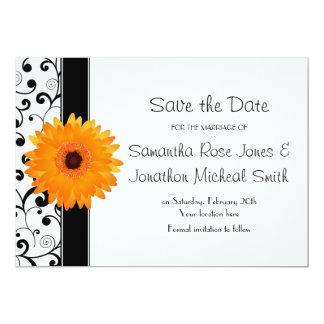"Orange Gerbera Daisy Black Scroll Save the Date 5"" X 7"" Invitation Card"