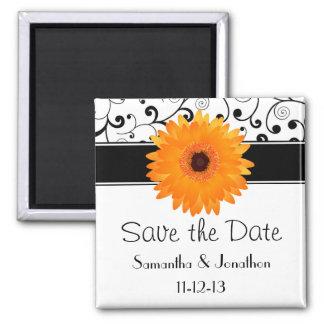 Orange Gerbera Daisy Black Scroll Save the Date Magnets