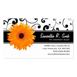 Orange Gerbera Daisy Black White Scroll Business Cards