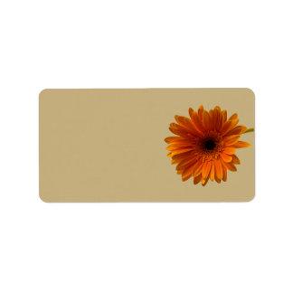 Orange Gerbera Daisy Blank Wedding Address Labels