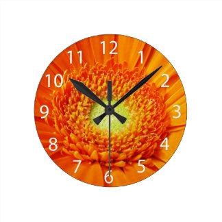 Orange Gerbera Daisy Flower Clock