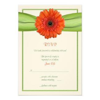 Orange Gerbera Daisy Green Wedding Reply Card Custom Invitation