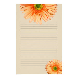 Orange Gerbera Daisy Lined Personal Writing Paper Stationery