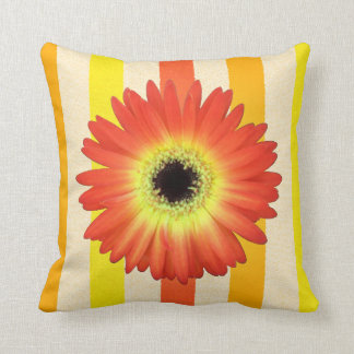 Orange Gerbera Daisy on Bold Stripes Pillow