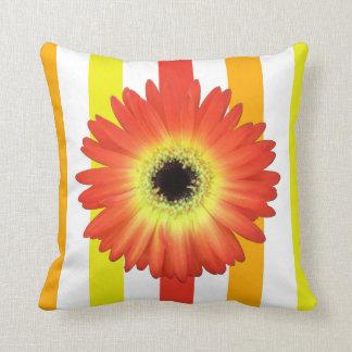 Orange Gerbera Daisy on Bold Stripes Throw Pillows