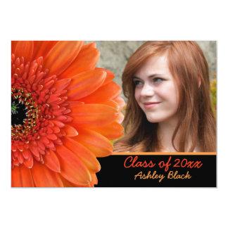 "Orange Gerbera Daisy Photo Graduation Invitation 5"" X 7"" Invitation Card"