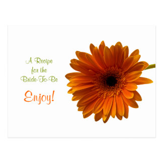 Orange Gerbera Daisy Recipe Card Post Card