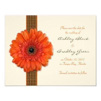 Orange Gerbera Daisy Save the Date Card 11 Cm X 14 Cm Invitation Card
