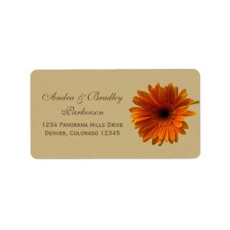 Orange Gerbera Daisy Tan Wedding Address Labels