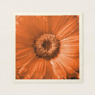 Orange Gerbera Daisy Disposable Napkins