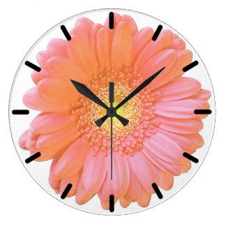 Orange gerbera daisy wall clocks