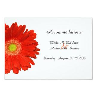 Orange Gerbera Daisy Wedding Accommodations Card 9 Cm X 13 Cm Invitation Card