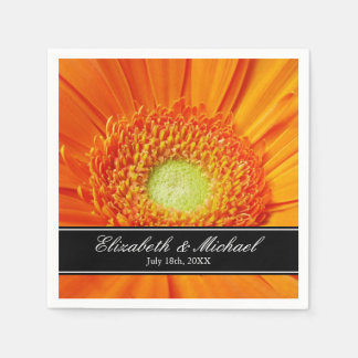 Orange Gerbera Daisy Wedding Personalized Disposable Serviettes