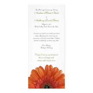 Orange Gerbera Daisy Wedding Program Announcement
