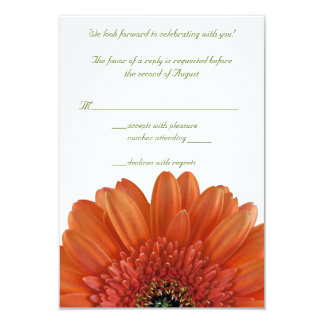 Orange Gerbera Daisy Wedding Reply RSVP Card 9 Cm X 13 Cm Invitation Card