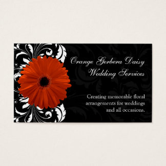 Orange Gerbera Daisy with Black and White Scroll