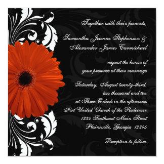 Orange Gerbera Daisy with Black and White Scroll 13 Cm X 13 Cm Square Invitation Card