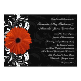 Orange Gerbera Daisy with Black and White Scroll 13 Cm X 18 Cm Invitation Card