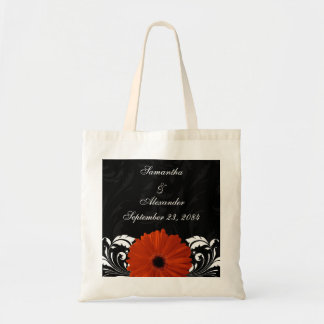 Orange Gerbera Daisy with Black and White Scroll Canvas Bag