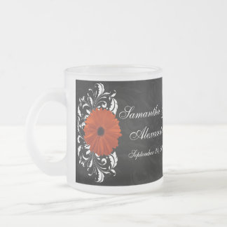 Orange Gerbera Daisy with Black and White Scroll Frosted Glass Mug