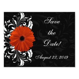Orange Gerbera Daisy with Black and White Scroll Personalized Invite