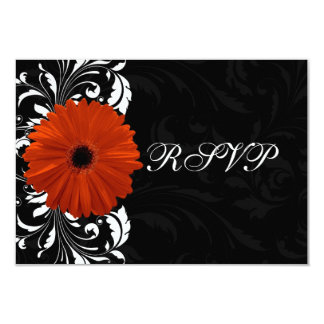 Orange Gerbera Daisy with Black and White Scroll Custom Invitations