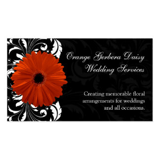 Orange Gerbera Daisy with Black and White Scroll Pack Of Standard Business Cards