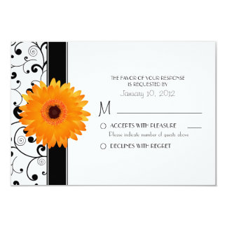Orange Gerbera Daisy with Black Scroll Design RSVP Personalized Invitations