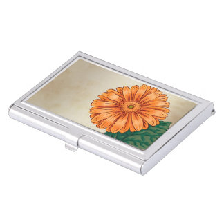 Orange Gerberas Floral Monogram Business Card Case
