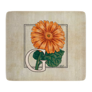 Orange Gerberas Floral Monogram Cutting Boards