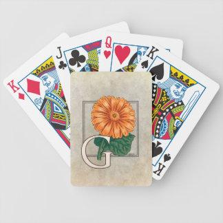 Orange Gerberas Floral Monogram Deck Of Cards