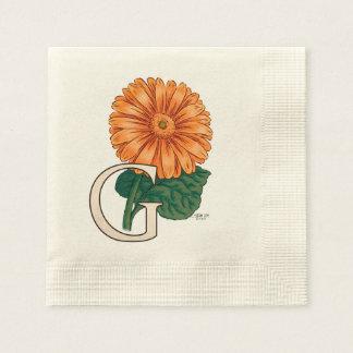 Orange Gerberas Floral Monogram Paper Napkin